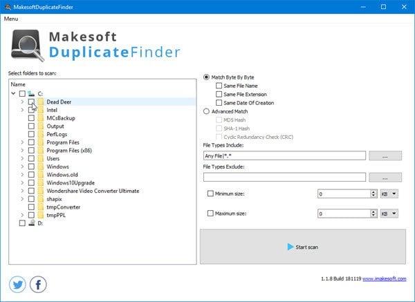 Encuentre y elimine archivos duplicados con Makesoft DuplicateFinder 1