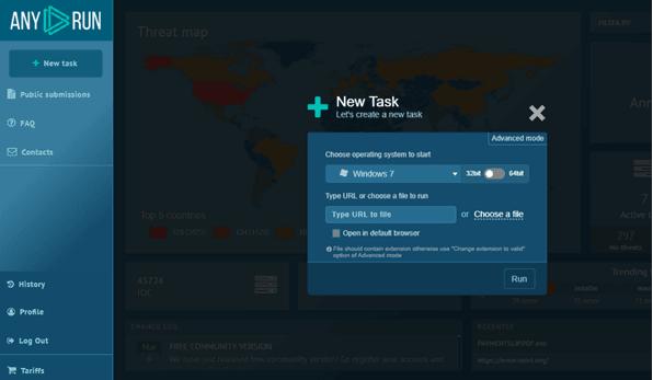 Any.run es una herramienta interactiva de análisis de malware en línea 2