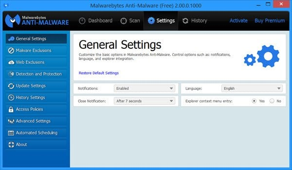 Malwarebytes Anti-Malware Free 2.0 Nuevas características