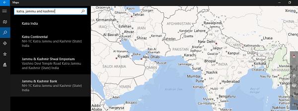 Agregar resultados de búsqueda a la lista de favoritos en la aplicación Windows 10 Maps 1