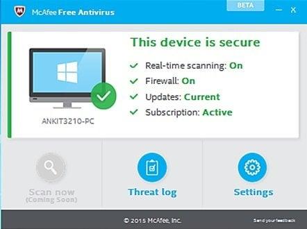 McAfee Free Antivirus para PC con Windows 1