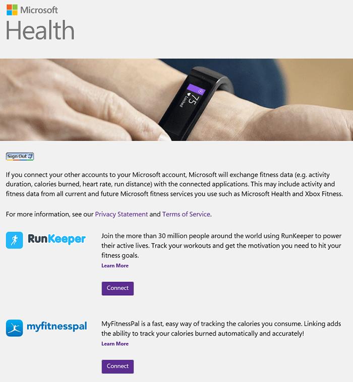 Comparte datos de tu Microsoft Band con las aplicaciones de Microsoft Health Connected