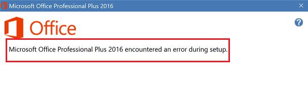 Microsoft Office Professional Plus encontró un error durante la instalación 1