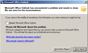 Microsoft Outlook detectó un problema y necesita cerrarse