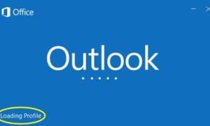 Microsoft Outlook pegado en Cargar Perfil