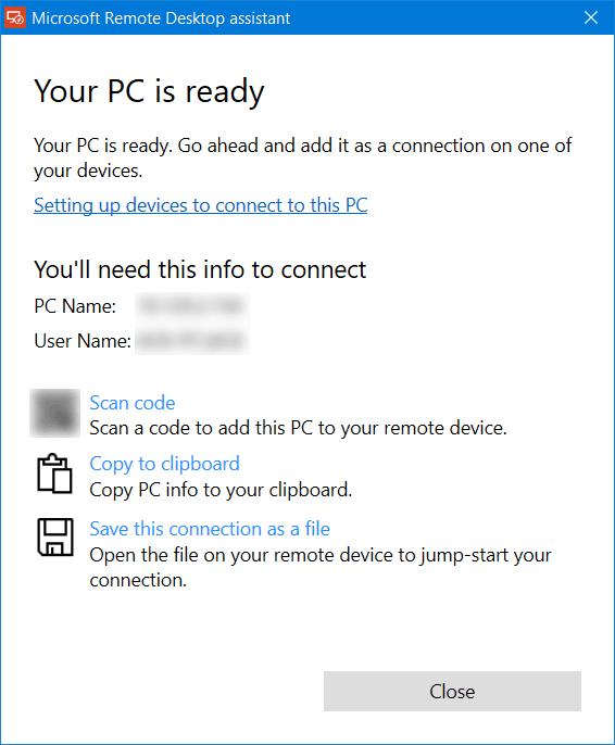 Asistente de escritorio remoto de Microsoft para Windows 10/8/7 4