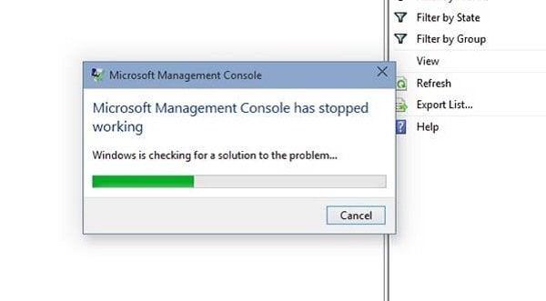 Microsoft Management Console (MMC.exe) ha dejado de funcionar