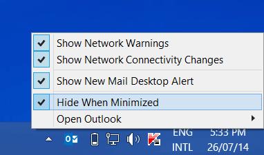 Cómo minimizar Outlook to System Tray en Windows 10/8.1 1