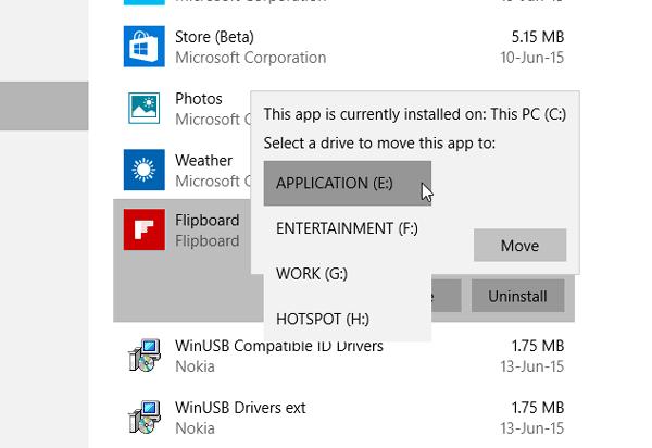 Mover aplicaciones de Windows 10 a otra unidad