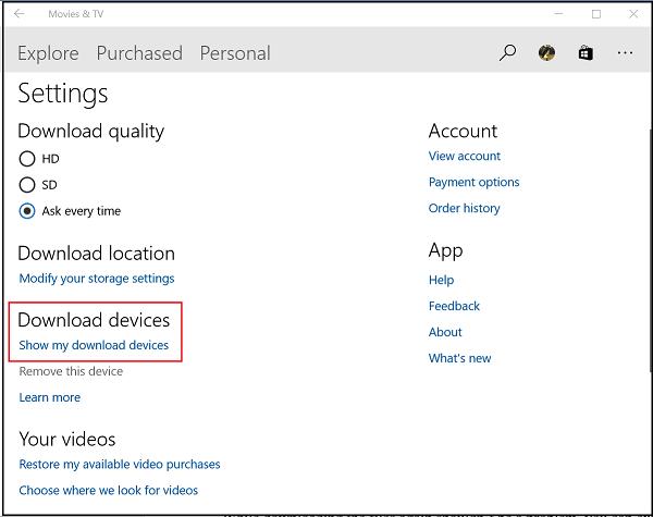 Cómo quitar un dispositivo de la aplicación Movies & TV en Windows 10