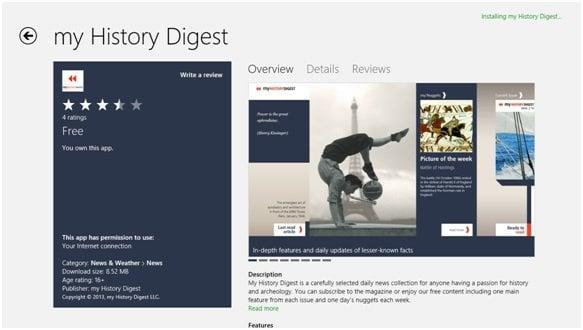Aplicación educativa para Windows 8 - my History Digest 1