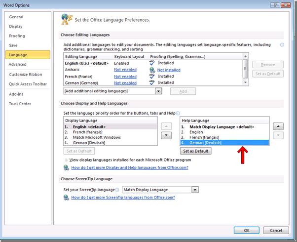 Lenguaje Microsoft Office ScreenTip: Cambiar el idioma de los programas de Office