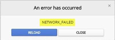 Corregir el error NETWORK_FAILED en el navegador Chrome en el PC con Windows 1