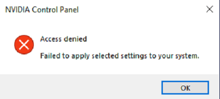 Acceso al panel de control de NVIDIA denegado - No se aplica la configuración