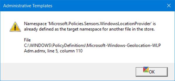 El espacio de nombres ya contiene un error definido al abrir el Editor de directivas de grupo en Windows 10. 1