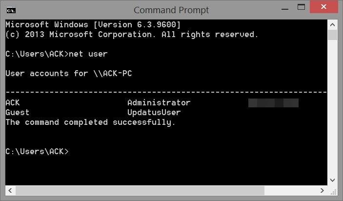 Comando Net User para administradores en Windows
