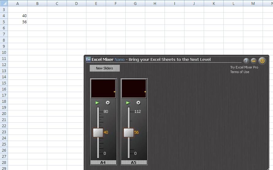 Excel Mixer Nano: Ajustar los valores de las celdas de Excel con controles deslizantes