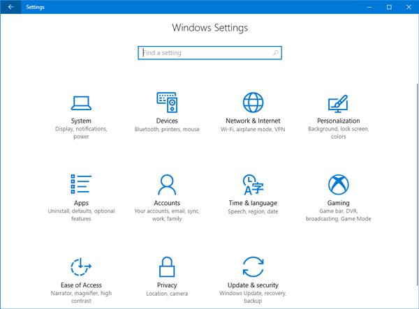 Nueva configuración disponible en la aplicación de configuración de Windows 10 v1703