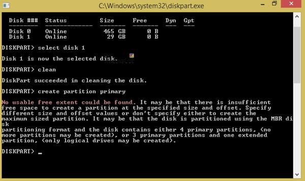No se ha encontrado ningún error en la extensión libre utilizable al ejecutar DISKPART 5