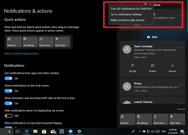 Cómo personalizar el Centro de notificaciones y acciones en Windows 10 6