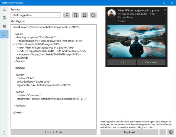 El visualizador de notificaciones le permite probar las notificaciones de aplicaciones en desarrollo.