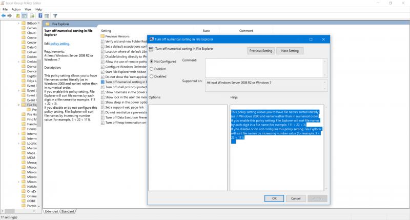 Cómo habilitar o deshabilitar la clasificación numérica en el Explorador de archivos 3