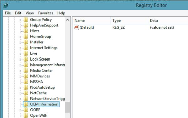 Agregar o cambiar información de OEM en Windows 10/8/7 1