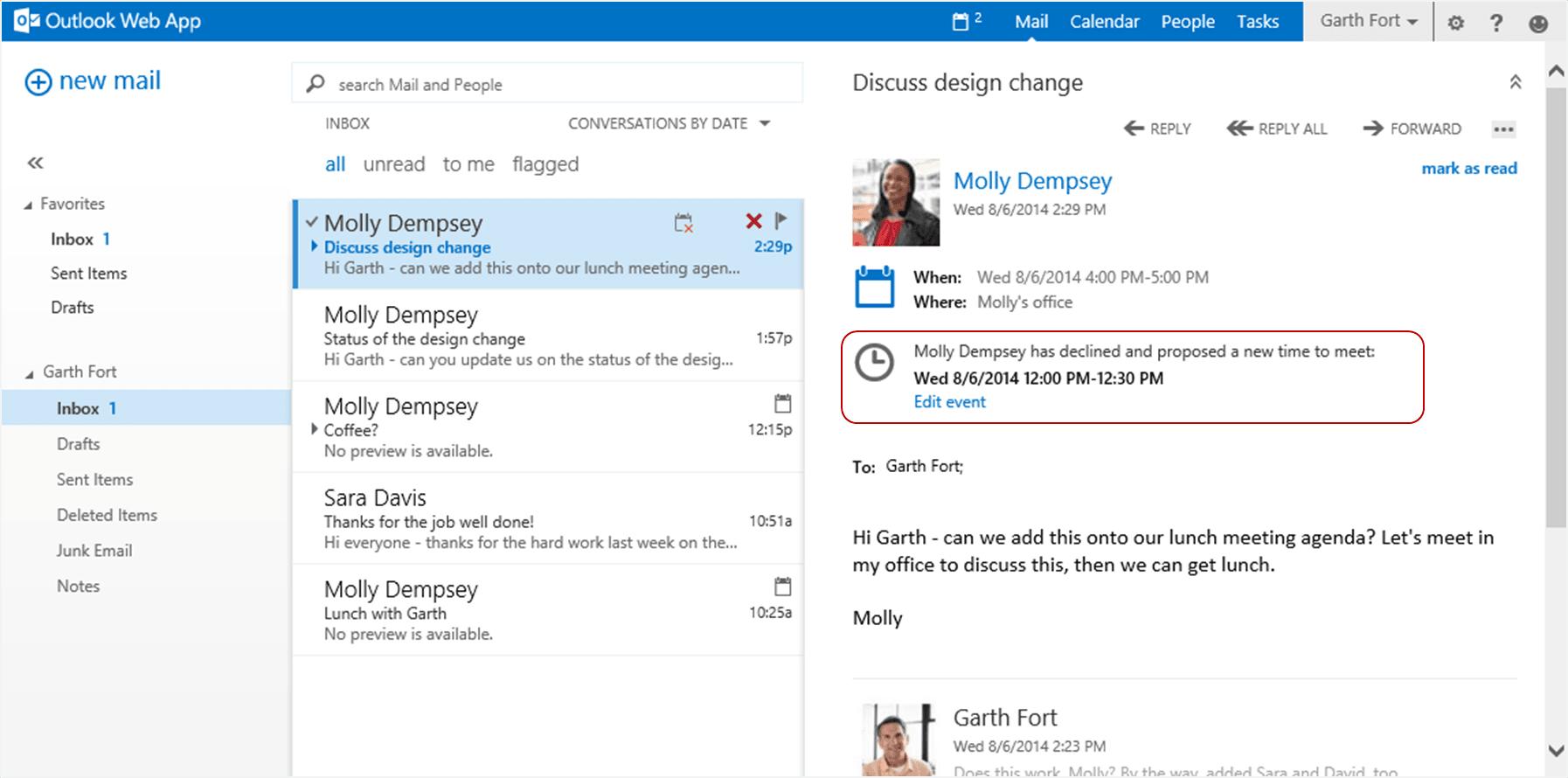 Característica de Outlook Web App: Proponer una nueva hora 5