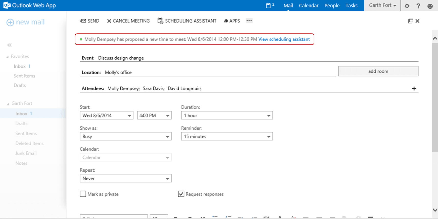 Característica de Outlook Web App: Proponer una nueva hora
