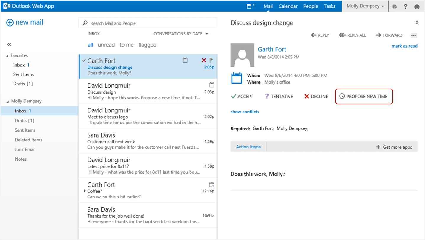 Característica de Outlook Web App: Proponer una nueva hora 1