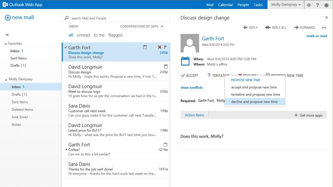 Característica de Outlook Web App: Proponer una nueva hora 2