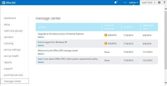 El nuevo Centro de Mensajes en Office 365