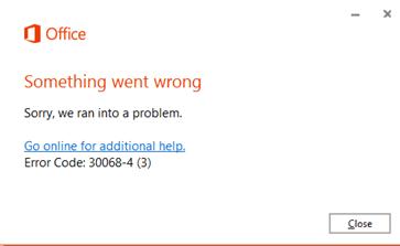 Corregir el código de error 30068 al instalar Office