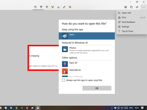 Lista de nuevas características de la aplicación Snip and Sketch de Windows 10