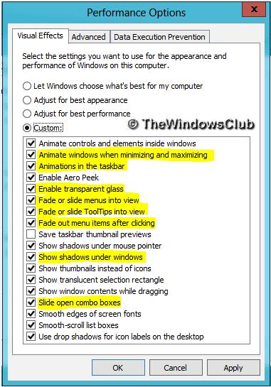 Optimice el rendimiento de Windows 10 ajustando los efectos visuales