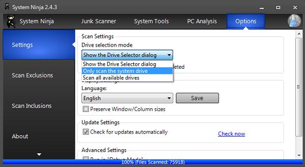 Sistema Ninja: Software gratuito de optimización del sistema para Windows 8 / 7