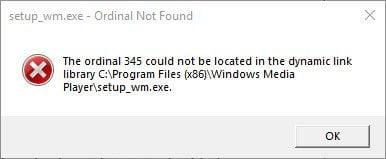 Ordinal no encontrado, El ordinal no podía estar ubicado en la biblioteca de enlaces dinámicos