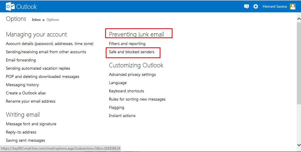 Cómo bloquear correo basura, spam y correo no deseado en Outlook.com 2