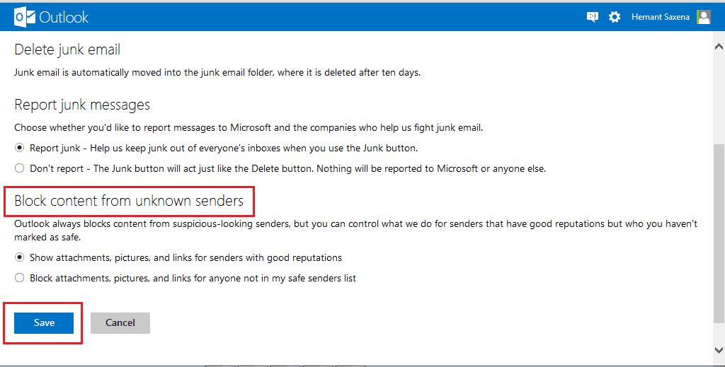Cómo bloquear correo basura, spam y correo no deseado en Outlook.com 6