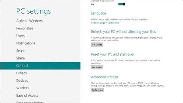 Mostrar opciones o menú de inicio avanzado en Windows 8