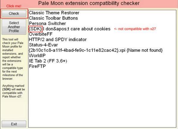 El Comprobador de compatibilidad de la extensión lunar pálida identifica las extensiones del SDK