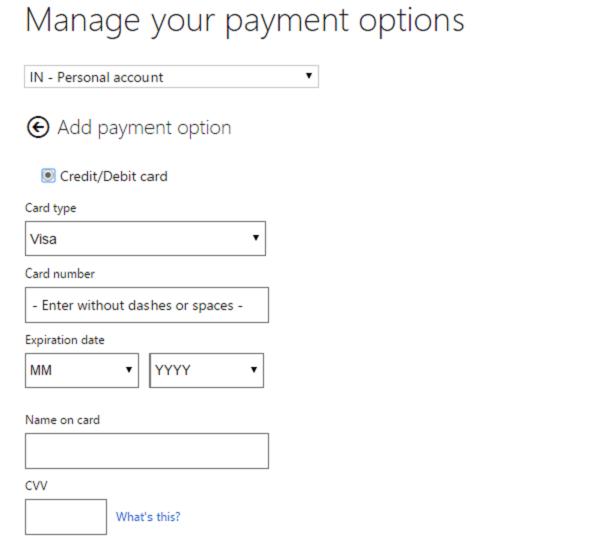 Añadir, Editar método de pago, Eliminar tarjeta de crédito en el almacén de Windows 10