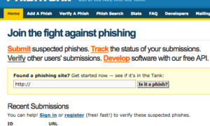 PhishTank le ayudará a verificar o reportar sitios web de Phishing