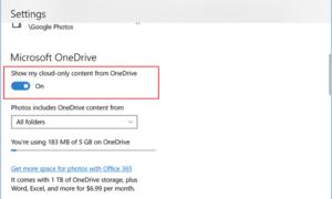 Mostrar u ocultar imágenes de OneDrive y de la carpeta privada en la aplicación Fotos