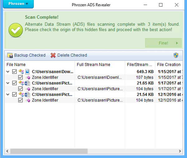 Phrozen ADS Revealer es una herramienta de detección de flujos de datos alternativos para Windows.