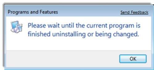 Por favor, espere hasta que el programa actual haya terminado de desinstalar o se esté modificando