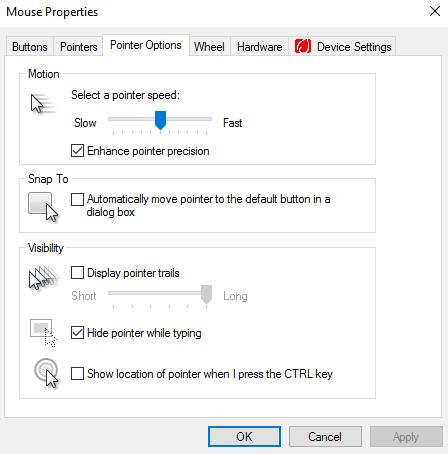 No hay movimiento del cursor, el cursor del ratón se mueve errática o lentamente en Windows 10/8/7
