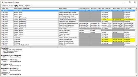 Análisis de objetos de directiva de grupo con Microsoft Policy Analyzer 7