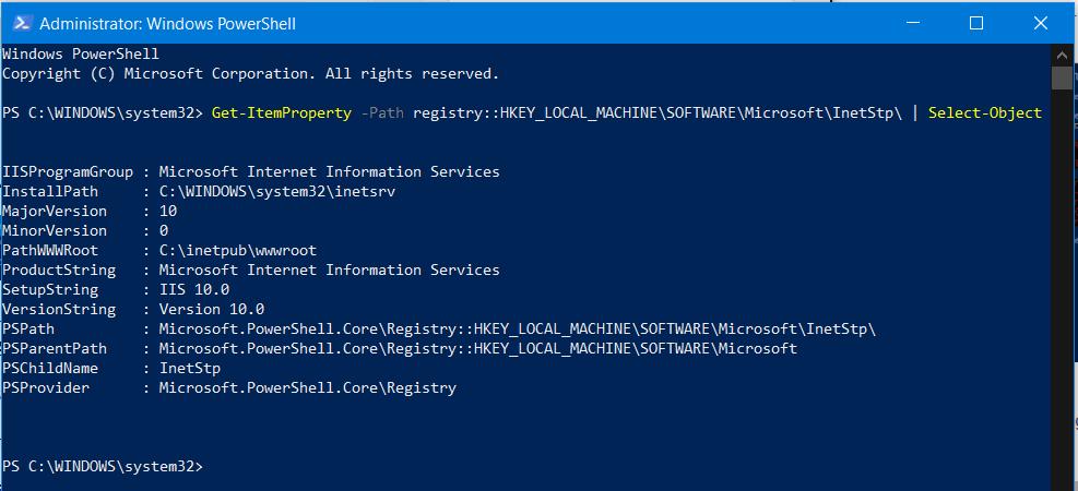 Cómo comprobar la versión instalada de IIS en Windows 10/8/7