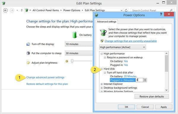 Evite que el disco duro se quede en reposo en Windows 10/8/7 1